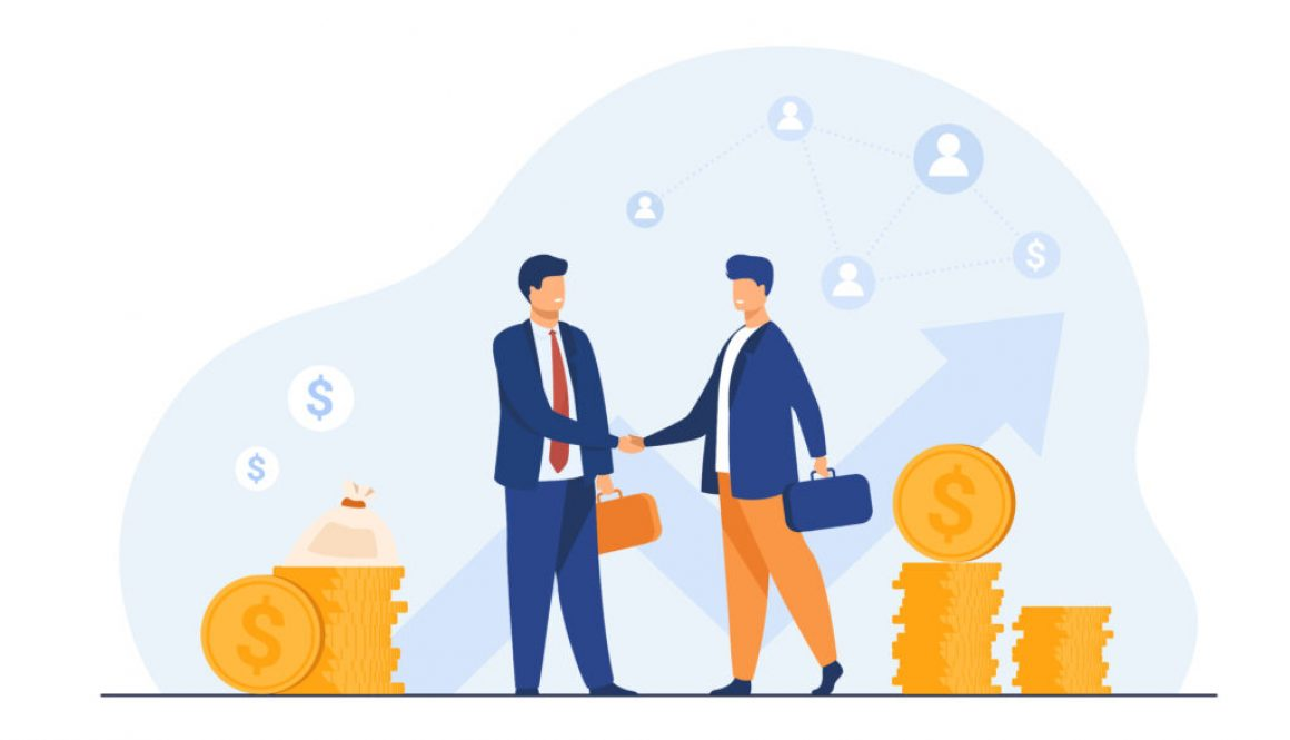 Two business partners handshaking